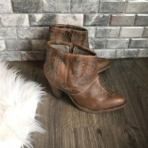 HTC brown leather Western Fold Over Booties 10